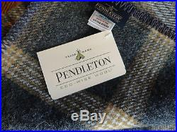 Pendleton Wool Blanket Queen NWT Washable Oxford Grey Tan Plaid Made in USA