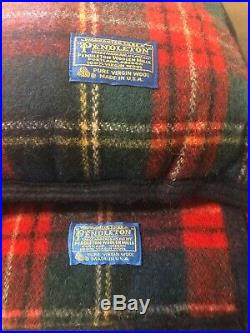 Pendleton Wool Blanket Reversible Full/Queen With Pillow Free Ship Plaid Western