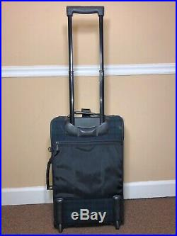 Pendleton Wool Plaid Green & Black Blanket Rolling Carry on Suitcase Luggage