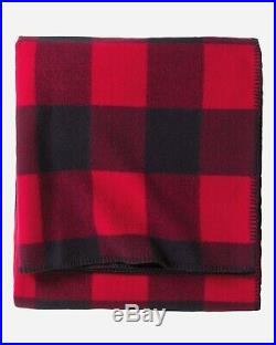 Pendleton Wool Rob Roy Tartan Blanket QUEEN Red/Black Eco-Wise Washable NEW