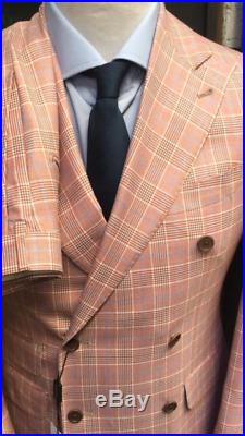 Pink super 150 Cerruti plaid wool double breasted suit with wide peak lapel