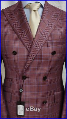 Pink super 180 Tombojlini double breasted plaid wool suit with wide peak lapel