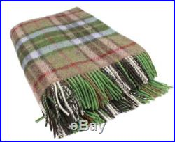 Plaid Throw Blanket Green and Brown Wool 75x54 Ireland Made