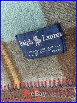 Polo Ralph Lauren 100% Wool Plaid Blanket Made In USA 70 X 90