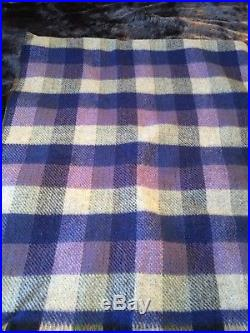 Preloved Vintage 100% Thick Wool Reversible Double Plaid Blanket 58 X 68