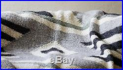Pure 100% Queen Wool Blanket Woven Bed Sofa Throw Natural Handmade Plaid Gray