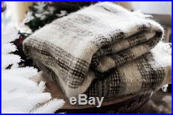 Pure 100% Wool Bed Throw Blanket Hand Woven Lambswool Blanket Plaid For Sofa