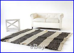Pure 100% Wool Blanket Striped Queen Size Throw White Grey Handwoven Cosy Plaid