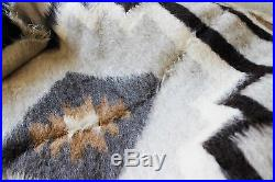 Pure 100% Wool Fluffy Queen Blanket Throw Plaid Hand Woven Gray Bed Sofa Plaid