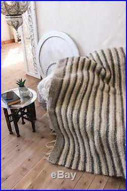 Pure 100% Wool Throw Grey Striped Bed Blanket Cover Large Grey Plaid Handmade