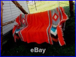 Pure 100% wool Fluffy red blanket Royal size Throw plaid Hand woven Bed Sofa