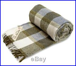 Pure Merino Wool Blanket Throw Tartan Check sofa Cover Bed Pad 155/200cm Double
