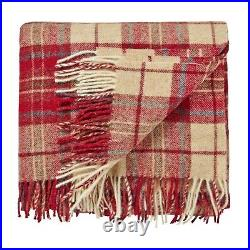 Pure Wool WILLIAM MORRIS WOODFORD Plaid Checked Throw Blanket Red