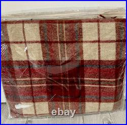 Pure Wool WILLIAM MORRIS WOODFORD Plaid Throw Blanket Red