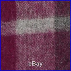 Purple Grey plaid Throw Blanket Bedspread Alpaca and Wool, for Sofa Couch Bed