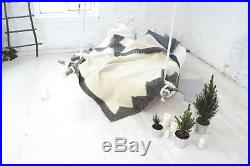 Queen Size Blanket 100% Wool Throw Bed Cover Hand Woven Plaid Cozy Home Decor
