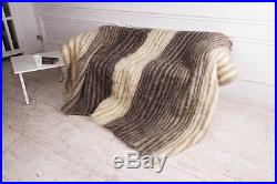 Queen Size Gray Fluffy Throw Blanket Pure 100% Wool Bed Cover Handmade Plaid