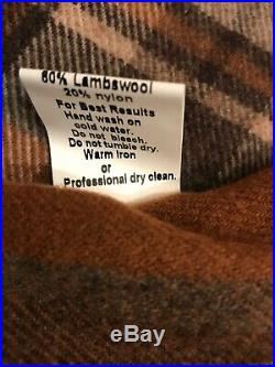 RARE! Smith & Hawken Brown Plaid Wool Picnic Blanket w Suede Handle Portugal