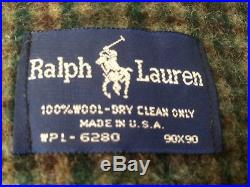 Ralph Lauren Forest Green Plaid 100% Wool Queen Blanket 90x90 Made in USA Polo