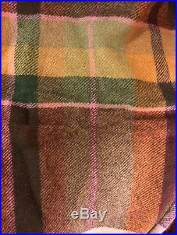 Ralph Lauren Green and Lilac Plaid Wool Throw Blanket