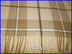 Ralph Lauren Plaid Tartan Wool Blend Blanket Throw Tan Cream 70 x 60