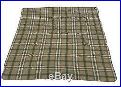 Ralph Lauren Plaid Wool King Size Blanket Green Brown Made In USA 108x90 Cabin