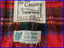 Rare Beauty Vintage 100% Wool Plaid Throw Blanket made in Scotland. 46x36 inches