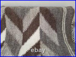 Real UNDYED 100% PURE sheep Wool Hutsul woven Blanket / Plaid / Rug 130190 cm