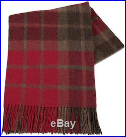 Red Brown plaid Throw Blanket Bedspread Alpaca and Wool, for Sofa Couch Bed