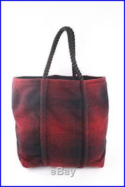 Rouges Gallery Black Red Plaid Rustic Wool Blanket Sea Bag EUC
