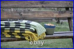 SHEEP WOOL BLANKETS, WOOL THROW, PLAID, SIZE 55 x79 In, ECO, NEW, SOFT, GIFT