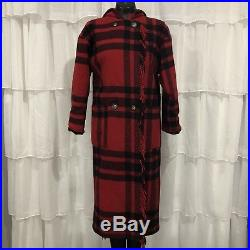 SMALL Vintage L. L. BEAN Womans Red Buffalo Plaid Hooded Wool Blanket Coat