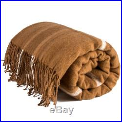 Soft Very Warm 100% Camel Wool Throw Plaid Blanket Cozy Wrap Made Russia Brown