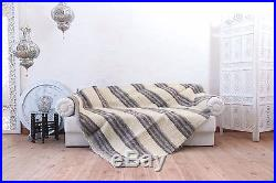 Striped Ivory Pure 100% Wool Throw for Sofa Bed Blanket Hand Woven Warm Plaid
