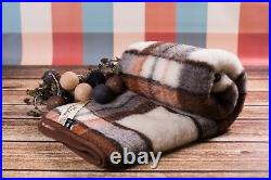 TARTAN MERINO WOOL Throw WOOL BLANKET NATURAL BED COVER PAD KING SIZE DOUBLE