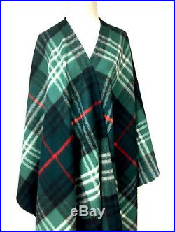 THE SCOTCH HOUSE Green Black Red White Plaid Wool Fringed Blanket Scarf Wrap