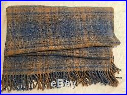 TYRONE ALL WOOL BLANKET THROW Made In Ireland Soft Blue And Chestnut 65 x 56