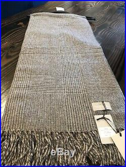 Tessilechiti MADE in ITALY 51 x 67 Grey Plaid THROW BLANKET Cashmere And Wool