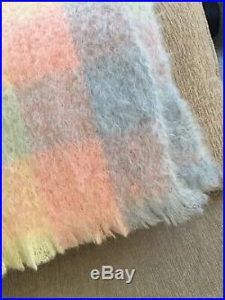 The Scotch House Mohair Wool Pastel Pink Blue Yellow Throw Blanket Scotland