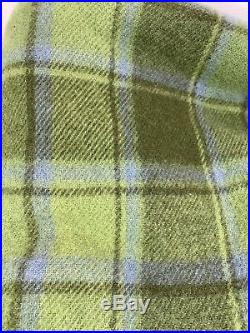 Thick Pendleton Virgin Wool Blanket Throw Stadium Green Blue Plaid Fringe Edge