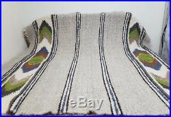 Traditional PURE Sheep WOOL Knotted hand woven Eco Blanket Plaid 190215 cm