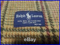 USED RALPH LAUREN POLO 100% WOOL MADE IN ENGLAND 90x90 THROW BLANKET
