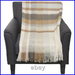 Ugg Colton Muted Plaid Wool-Blend Throw Blanket 50x70 Tan