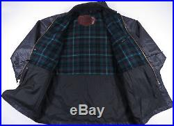 Vtg 90s Woolrich Waxed Shell Wool Blanket Plaid Lined Parka Jacket Coat Mens L