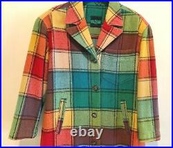 VTG Italian LONG WOOL PLAID COAT Blanket Coat Made in Italy by Touche large