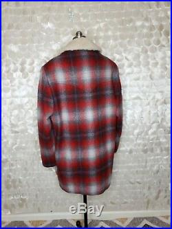 VTG PENDLETON WOOL BLANKET Coat WESTERN WEAR SHERPA collar Shadow Red Plaid 40