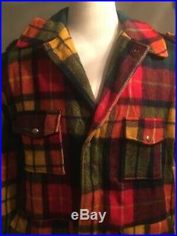 VTG Plaid Pea Coat Jacket Wool Blanket MACKINAW Hunting BARN Work Mens XL Long