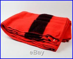 Vintage 4 Point TRAPPER POINT Large Red & Black Wool Blanket Throw ENGLAND 68X90