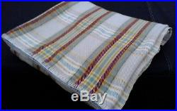 Vintage 50's Welsh Wool Blanket check plaid burgundy gold grey 70 x 90 inches