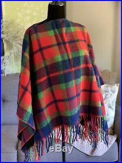 Vintage 60s Pendleton Knockabouts Blanket Poncho Zipper Wool Red Blue Plaid NWTs